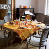 """Mille Banquets Ocre Tablecloth 71""""x71"""", 100% Cotton"""