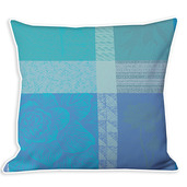 "Mille Gardenias Lagon 20""x20"" Cushion Cover, 100% Cotton - Set of 2"