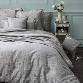 Secret Garden Grey Duvet Cover, King, Cotton - 1ea