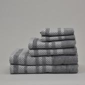 Formillo Dark Grey 6 pieces Bath Set, 100% Cotton.