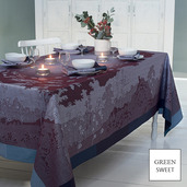 "Paysage Prune Tablecloth 69""x69"", GS Stain Resistant"