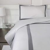 Porto-Vecchio White with Grey Band 400TC Queen Duvet Set