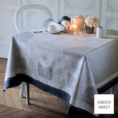 """Bagatelle Flanelle Tablecloth 68""""x143"""", Green Sweet"""