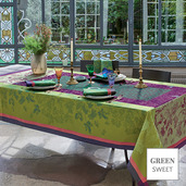 """Plaisirs D Automne Muscat Tablecloth 69""""x144"""", Green Sweet"""