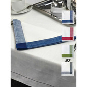 "Intramuri Slub White 69""x89"" Tablecloth with Blue Hemstitch"