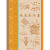 """Miel Et Abeilles Ocre Kitchen Towel 22""""x30"""", 100% Cotton"""