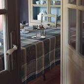 "Mille Wax Cendre Tablecloth 71""x98"", 100% Cotton"