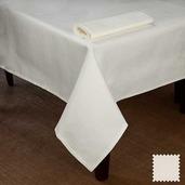 """Partridge Eye OA White Tablecloth 90"""" Round, Cotton"""