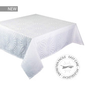 """Mille Riads Blanc Tablecloth 61""""x102"""", 100% Polyester"""