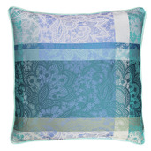 "Mille Dentelles Turquoise Cushion cover 16""x16"", 100% Cotton"