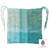 """Mille Dentelles Turquoise Chair cushion 15""""x15"""", Coated Cotton"""