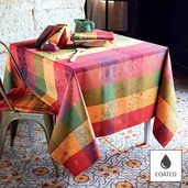 """Mille Alcees Litchi Tablecloth 69"""" Round Coated Cotton"""