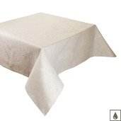 "Mille Isaphire Parchemin Tablecloth 69""x98"", Coated Cotton"