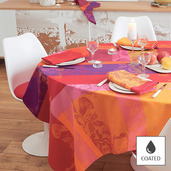 "Tablecloth Round Mille Fiori Feuillage Round 69"", Coated Cotton - 1ea"