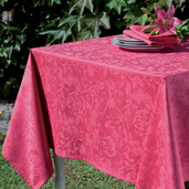 "Mille Charmes Raspberry Tablecloth 71""x71"", Cotton"