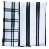 Black Checker Stripe Kitchen Towels -SET of 2ea