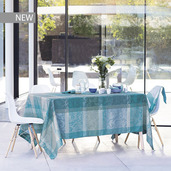 "Mille Dentelles Turquoise Tablecloth 71""x118"", 100% Cotton"