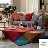 "Carrousel Christmas Tablecloth 45""x45"", Green Sweet"