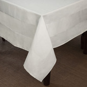Satin Band White Cotton 2hems Tablecloth Square 72x72