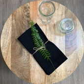 Recycled Cotton Napkin Black, 100% Cotton