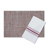 Bistro White Polyester Napkin with Burgundy Stripes, with matching London Strawberry Vinyl Placemat, Set of 4