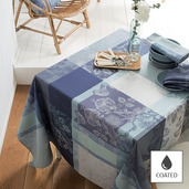 """Mille Fiori Givre Tablecloth 69""""x98"""", Coated Cotton"""