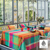 """Mille Dentelles Floralies Tablecloth Round 69"""", Coated Cotton"""