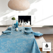 """Mille Coraux Ocean Tablecloth 69""""x69"""", Coated Cotton"""