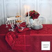 """Cassandre Grenat Tablecloth 68""""x143"""", Green Sweet"""