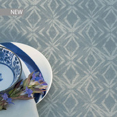 "Mille Ikats Zinc Tablecloth 61""x102"", 100% Cotton"