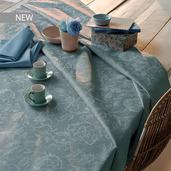 "Mille Charmes Bleu Louis XVI Tablecloth Round 71"", 100% Cotton"