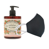 6 Washable protective masks GT9501 + 3 bottles of Rose Geranium French Hand Soap.