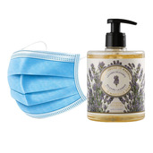 50 Disposable 3 layers masks + 3 bottles of Relaxing Lavender French Hand Soap.