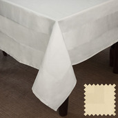 Satin Band Light Canaveral Sand Cotton Tablecloth Square 63x63