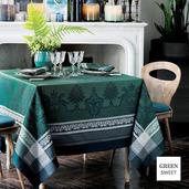 """Fontainebleau Vert Profond Tablecloth 69""""x143"""", Green Sweet"""