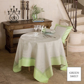 "Eugenie Almond Tablecloth 69""x143"", GS Stain Resistant"