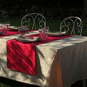 """Mille Charmes Ecru De Blanc Tablecloth 71""""x98"""", 100% Cotton"""