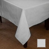 "Natte White Tablecloth 72""x100"", Cotton"