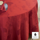 """Mille Feuilles Rouge Tablecloth 69""""x98"""", Coated"""