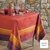 """Isaphire Red Tablecloth 69""""x143"""" GS Stain-Resistant Cotton"""
