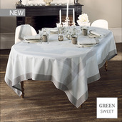 """Pompadour Grege Tablecloth 69""""x69"""", Green Sweet"""