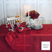 """Cassandre Grenat Tablecloth 68""""x68"""", Green Sweet"""