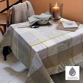 "Mille Tropiques Coco Tablecloth 59""x87"", Coated Cotton"