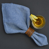 Chevroni Blue Napkin, Cotton-4ea