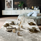 """Mille Azulejos Naturel Tablecloth 61""""x118"""", Polyester"""