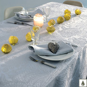 "Mille Isaphire Angelite Tablecloth 69""x69"", Coated Cotton"