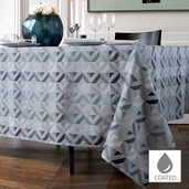 "Mille Twist Asphalte Tablecloth 59""x87"", Coated Cotton"