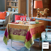 "Festin de Roi Automne Tablecloth 69""x120"", Green Sweet"
