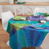 """Tablecloth Rectangle Mille Fiori Sous Bois 71""""x98"""", Cotton - 1ea"""