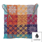 """Mille Tiles Multicolore Chair Cushion 15""""x15"""", Coated Cotton"""